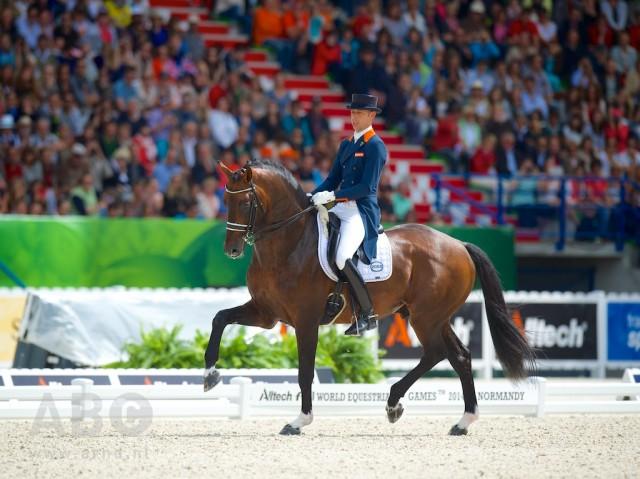Welt- und Europameister Hans Peter Minderhoud mit seinem WM-Pferd GLOCK's Johnson TN. © Arnd Bronkhorst