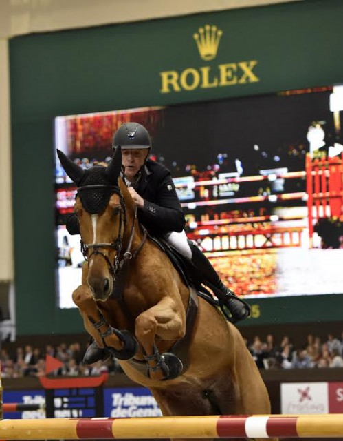 """The picture enclosed shows Roger Yves Bost, winner of two qualifiers for the """"Rolex Grand Prix"""" at the CHI Geneva 2015. © Rolex Grand Slam of Show Jumping/Kit Houghton"""