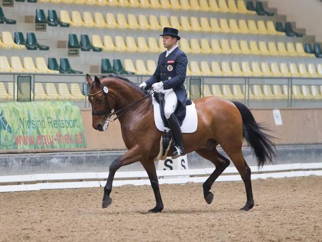 Christian Schumach sicherte sich Platz zwei mit Auheim's Picardo (v. Prince Thatch) und 68.520%. © Michael Rzepa