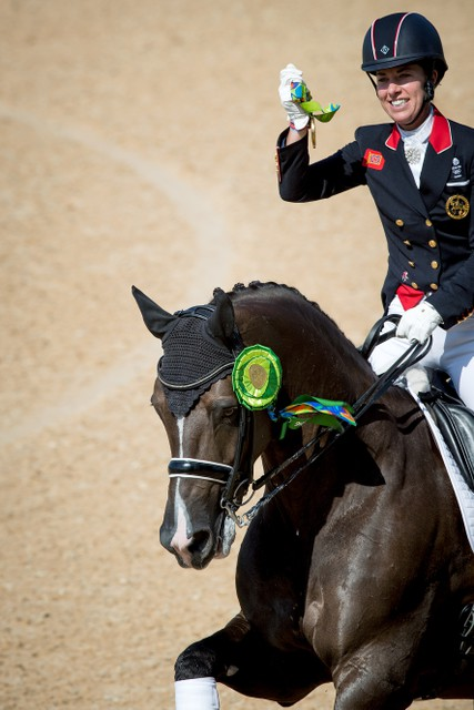 Great Britain's Charlotte Dujardin and Valegro secured their second successive individual Olympic Dressage title when winning the Freestyle today. © Dirk Caremans / FEI