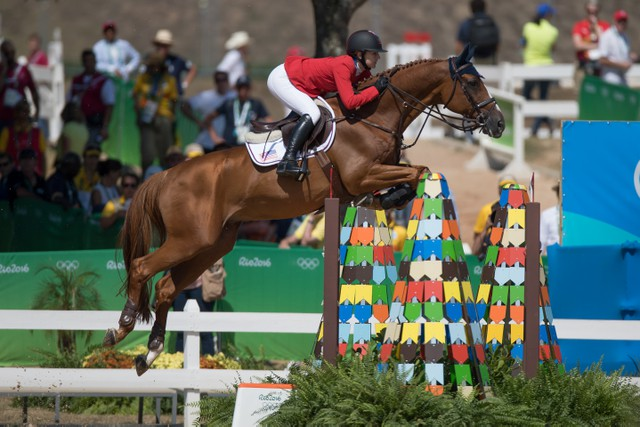 Lucy Davis and Barron produced one of the three clear rounds that ensured Team USA shared the lead after the first round of Team Jumping at Deodoro Olympic Park in Rio de Janeiro (BRA) today. © Dirk Caremans/FEI