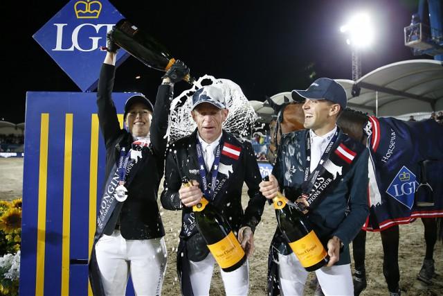 Champagnerdusche für Marcus Ehning (GER), Janne-Friederike Meyer (GER) und Simon Delestre (FRA). © LGCT / Stefano Grasso