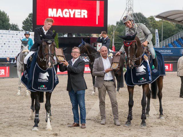 Die beiden Sieger im Six Bar presented by Magyer. Gregor Gschlenk (DFG Event GmbH) und Werner Magyer (Magyer) gratulieren. © Michael Graf