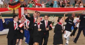 Insgesamt 8 Medaillen für Österreich hatten die Voltigier Heim EM 2013 zu einem vollen Erfolg gemacht, 2017 in Ebreichsdorf neben der EM auch die WM der Junioren zu Gast. © Archiv Barny Thierolf