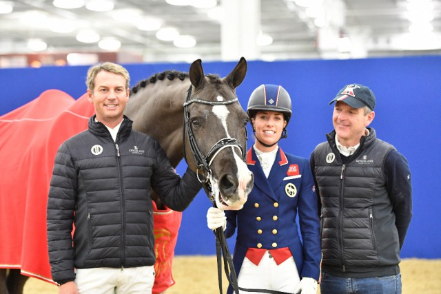 Das Dreamteam: Carl Hester, Valegro, Charlotte Dujardin und Alan Davies in London. © Kit Houghton