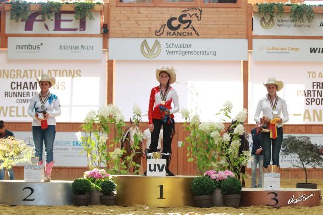 Das Podium der Junioren Europameisterschaft 2016: Celina Bachleitner (AUT) Gold, Marie Baralon (FRA) Silber und Margaux Legrand (FRA) Bronze. © Andrea Bonaga / FEI potos