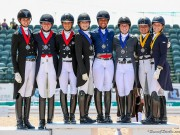 USA Team A, USA Team B, and Team Canada pose together atop the podium after receiving their medals in the inaugural FEI Under 25 Nations Cup CDIO 3* presented by Diamante Farms at the Adequan® Global Dressage Festival (AGDF). © Susan J Stickle