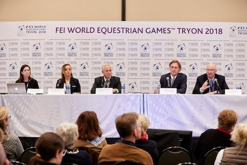The panel of the press conference: (L to R) FEI WEG Press Officer Jennifer Wood, FEI Secretary General Sabrina Ibáñez, U.S. Equestrian President Murray Kessler, FEI WEG CEO Mark Bellissimo, and FEI WEG President and Sport Director Michael Stone. ©FEI/Liz Gregg