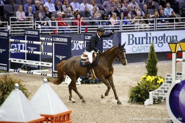 Für Romain Duguet geht es im Finale um Alles. Mit seiner Stute Twentytwo Biches liegt er momentan auf Rang drei in der Gesamtwertung. © Stefan Lafrentz