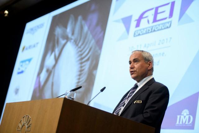 FEI Sports Forum 10/4/17 Morning Session Lausanne Ingmar De Vos, FEI President Photo FEI/Richard Juilliart