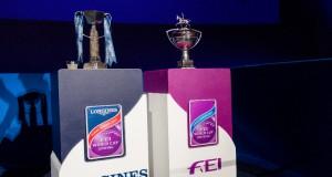 Um diese beiden Trophäen wurde bei den FEI World Cup™ Finals in Omaha am vergangenen Wochenende geritten. © FEI/Cara Grimshaw
