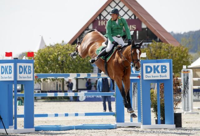 Gerfried Puck und seine Bionda glänzten in Hagen mit tollen Leistungen im de Springbewerben. © Stefan Lafrentz