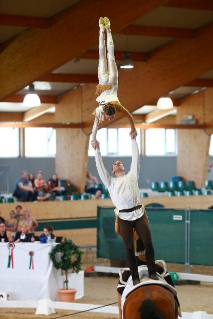 Mit einer Wertnote von 8,084 siegte die Voltigiergruppe Wildegg mit ihrer Gustav Klimt Kür souverän im Gruppenbewerb vor Italien. © Andrea Fuchshumer