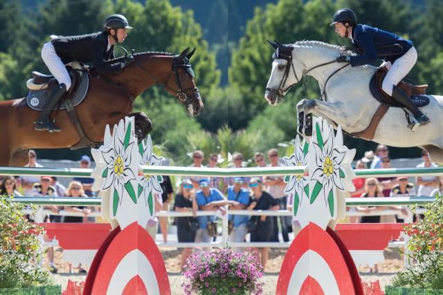 Was für ein unglaublicher Sieg für Martin Fuchs (SUI) und Steve Guerdat (SUI) im GLOCK's 5* Grand Prix, der in dieser Fotomontage von Nini Schäbel perfekt dargestellt wird. © Nini Schäbel