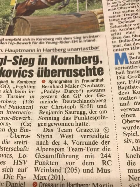 Ein Zeitungsbericht über den Sieg von Bernhard Maier und Paddys Darco in Frauental. © Privat