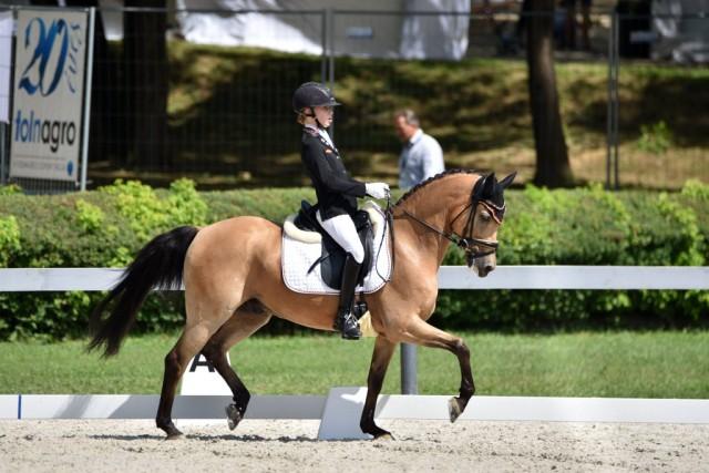 Lucie-Anouk Baumgürtel (GER)  konnte ihren Titel aus dem Vorjhar erfolgreich verteidigen und sicherte sich mit Zinq Massimiliano FH die dritten EM Goldmedaille bei der Pony EM 2017 in Kaposvar (HUN). © Facebook FEI European Championships für Ponies 2017
