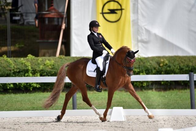 Silber in der Musikkür bei der Pony EM in Kaposvar für Louise Christensen (DEN ) und Vegelins Goya. Die beiden haben damit drei Silbermediallen geholt bei dieser EM. © Facebook FEI European Championships für Ponies 2017