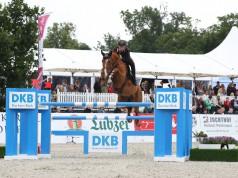 Emanuele Gaudiano springt mit Chalou und einem mächtigen Satz zum Sieg. © ACP Andreas Pantel