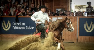 Bernard Fonck captures Belgium's first ever individual reining gold, riding Smart N Sparkin. The duo also led Belgium to the team title. © Andrea Bonaga