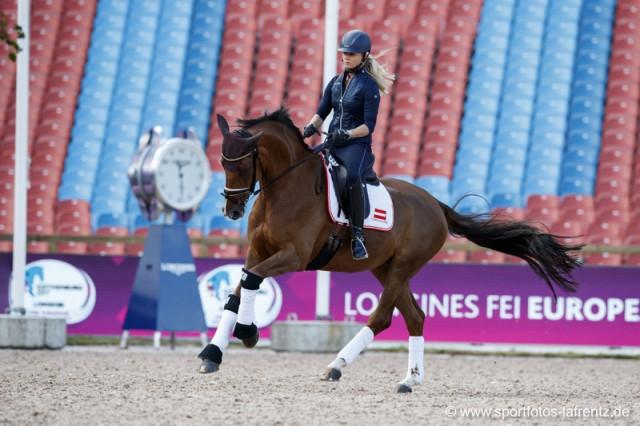 Victoria Max-Theurer und Blind Date beim Training im Ullevi Stadion. © Stefan Lafrentz
