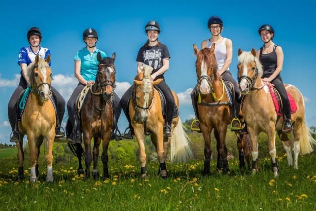 Team Offene Klasse von Links: Saskia/Gaius (OÖ), Sarah/Nemesis (Burgenland), Kathi/Sueno (NÖ), Caro/Nik (Wien), Emma/Pit (Salzburg. © Ponyhof Daneder