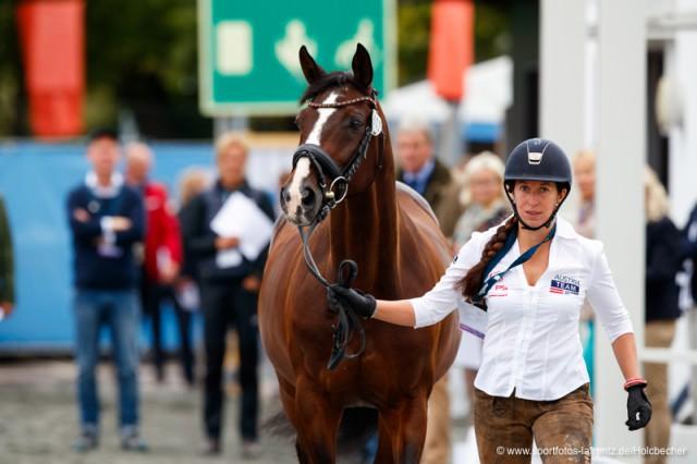 Astrid Neumayer und DSP Rodriguez beim Vet Check der EM Göteborg. © Stefan Lafrentz