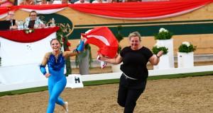 Nicole Brabec von der Voltigiergruppe Club 43 in Donaustadt holte bei der Weltmeisterschaft der Junioren in Ebreichsdorf im Einzel Voltigieren GOLD für Österreich. © Andrea Fuchshumer