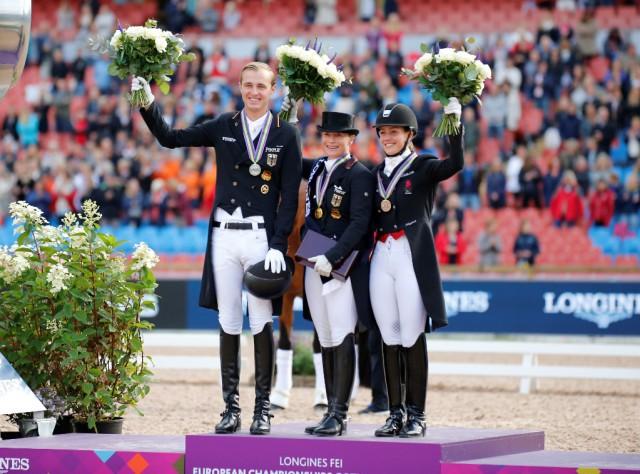 Silber, Gold und Bronze im Grand Prix Special der Europameisterschaften Göteborg 2017: Sönke Rothenberger (GER), Isabell Werth (GER) und Cathrine Dufour (DEN). © Petra Kerschbaum