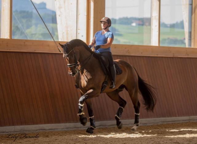 Diana Porsche und der 9-jährige Johnson-Nachkomme Douglas im Training. © Lily Forado
