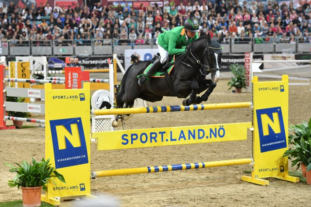 Dieter Köfler (K) möchte sich beim Jubiläumsturnier in der Arena Nova (Wr. Neustadt/NÖ) seinen dritten Grand Prix Sieg sichern. 2016 waren Dieter und Askaban Fünfte geworden im Großen Preis vom Sportland Niederösterreich. © horsesportsphoto.eu