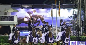 Victory gallop for Team United Arab Emirates - they qualified for the Longines FEI Nations Cup™ Jumping Final for the first time this year and produced a stunning victory in tonight's Longines Challenge Cup. (FEI/Libby Law)