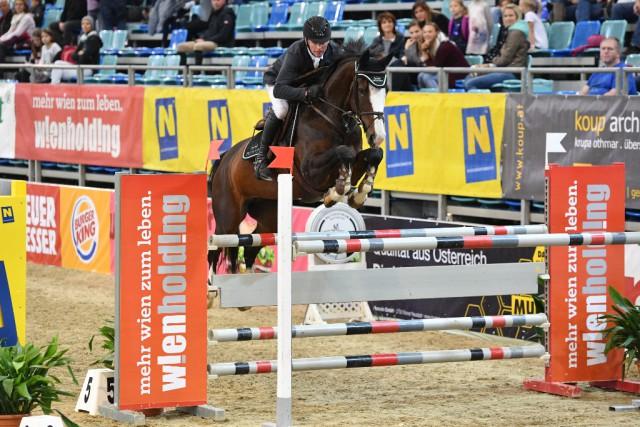 Christian Juza (S) glänzte auf Platz drei im Preis der Wien Holding für Österreich. © Horse Sports Photo