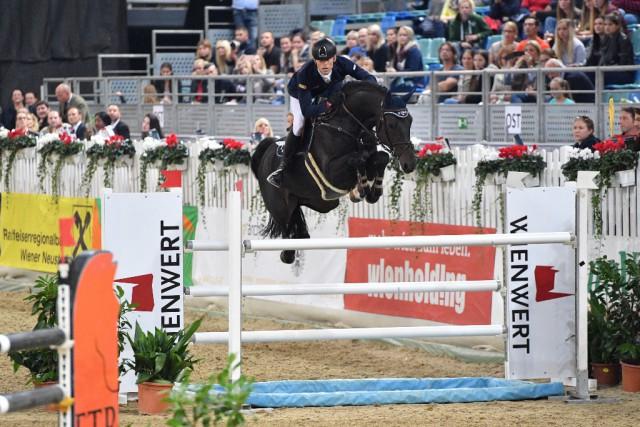 Max Kühner und sein erst siebenjähriger PSG Final wurden hervorragende Zweite im Christian Salaba Gedächtnisspringen um den Preis von Wien Wert. © Horse Sports Photo
