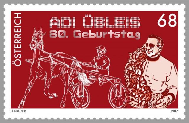 """Die Österreichische Post würdigt die Trabrennlegende Adi Übleis mit einer Sonderpostmarke. © Briefmarken Westermayr Sonderbriefmarke 80. Geburtstag """"Adi Übleis"""" mit Sonderpostamt"""