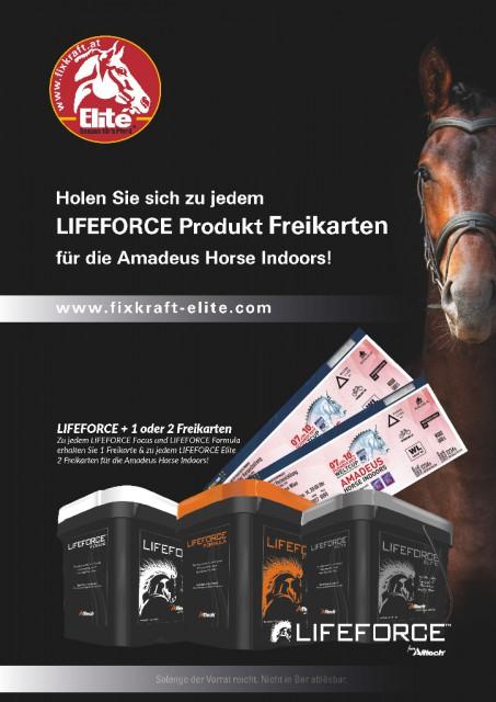 Holen Sie sich zu jedem LIFEFORCEA Produkt Freikarten für die Amadeus Horse Indoors! © Fixkraft