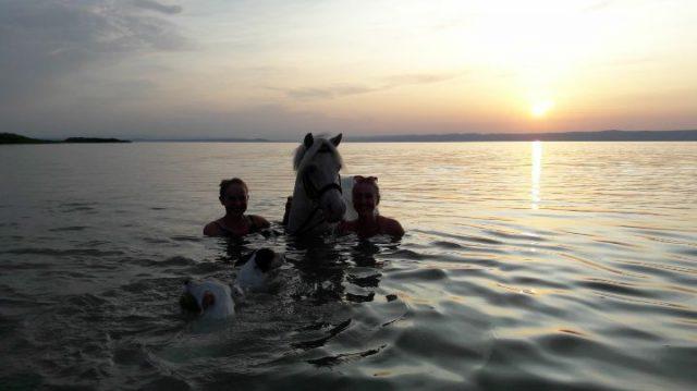Das erste Mal mit dem Pony im See - ein ganz besonderer #Glücksmoment für Ida Schmelzer. © Ida Schmelzer