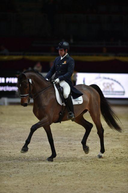 Antonio Laiz Zandio und Geilholms Menotti reiten auf Platz zwei im U25 Grand Prix bei der Amadeus Horse Indoors. © Fotoagentur Dill
