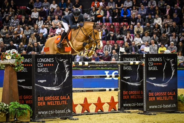 Simon Delestre und Chesall Zimequest sprangen auf Platz 3 im mit 330.000 Schweizer Franken dotierten LONGINES Grand Prix Basel. © Katja Stuppia LONGINES CSI Basel
