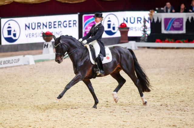 Jessica von Bredow-Werndl bei ihrem letzten Auftritt in Österreich im Dezember 2017 im Dressur-Weltcup der Amadeus Horse Indoors. © Tomas Holcbecher