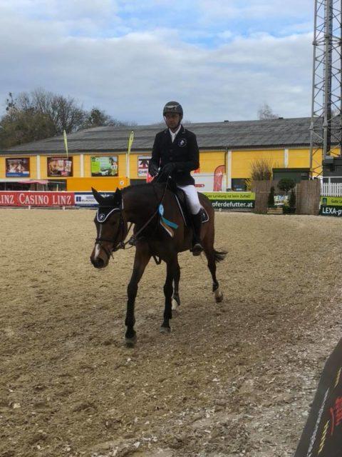 Mevisto-Reiter Roland Englbrecht war mit dem Turnierdebut seiner Jungpferde durchwegs zufrieden. © Privat