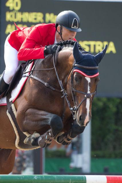 Max Kühner und Alfa Jordan lieferten nach einem unglücklichen ersten Umlauf im zweiten Umlauf eine wichtige Nullrunde für Österreich ab. © Team Myrtill/Linzer Pferdefestival