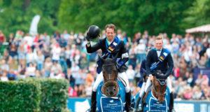 Harrie Smolders und sein 14 Jahre alter Hengst Don VHP Z siegten in Hamburg. © LGCT StefanoGrasso