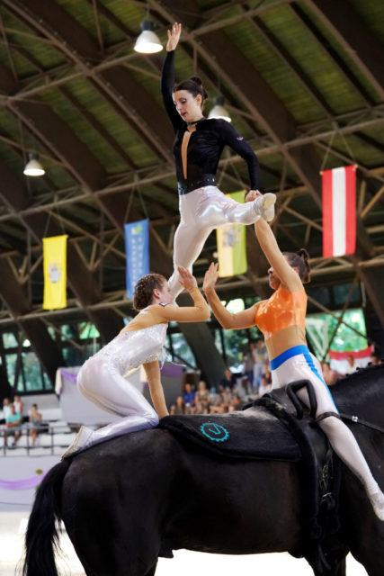 Die EM-Goldmedaille im Gruppenvoltigieren sichert sich Deutschland. © Andrea Fuchshumer