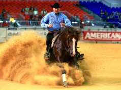 Cool! AMERICANA Futurity Champion Open Champion 4-year-old Horses Bernhard Fonck (hier mit What a Wave) in action. © Dead or Alive/ Americana