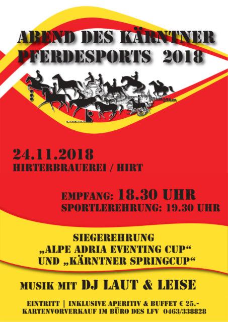 Landesfachverband für Pferdesport in Kärnten lädt zum Abend des Kärntner Pferdesports 2018. © Landesfachverband für Pferdesport in Kärnten