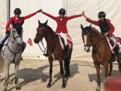 Das erfolgreiche Ponyteam mit Sophie Pollak auf Caiseal Boy, Elisabeth Knaus auf AMD Midnight Lady und David Gorton-Hülgerth auf Florian © privat