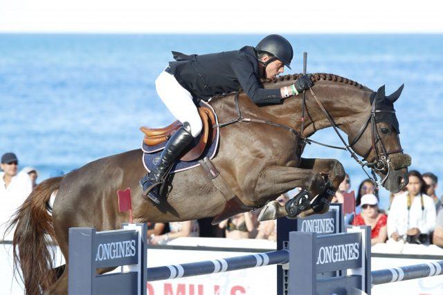 Harrie Smolders (NED) und sein Championatspferd Don VHP Z holten sich im Longines Global Champions Tour Grand Prix in Miami Platz zwei. © Stefano Grasso/LGCT