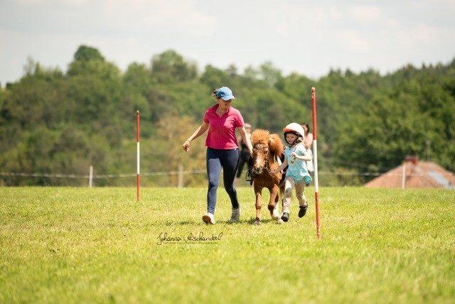 Die jüngste Teilnehmerin Helena Montgomery mit Sokrates bei Run and Ride (Führzügelklasse). © Johanna Fleischanderl
