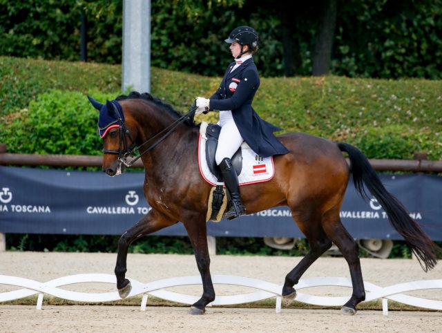 Ritt ins Young Rider Kür-Finale! Kathrin Brugger und ihr Dior holten heute 69.618% (Platz 19). © Petra Kerschbaum