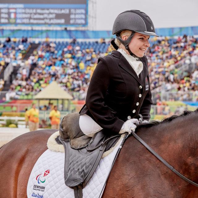 Stinna Tange Kaastrup (DEN) and Horsebo Smarties, Gewinnerin der der individuellen Para Dressur Grade II Freestyle Gold auf den FEI Weltreiterspielen™ 2018. © FEI